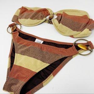 Becca Metallic Striped 2-pc Bikini